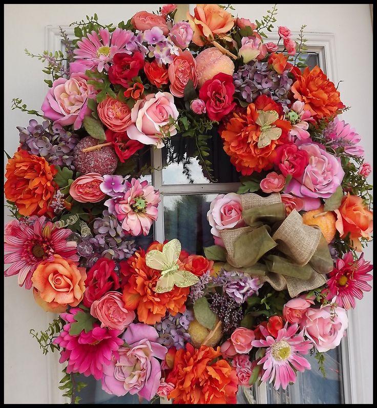 """""""Peach Blossom"""" Summer Wreath"""