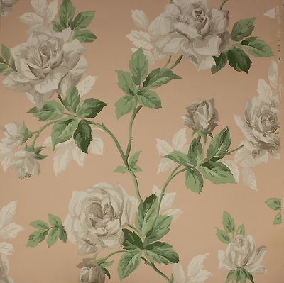 ANTIQUE WALLPAPER LARGE WHITE ROSES ON PINK! Vintage Wallpaper | eBay