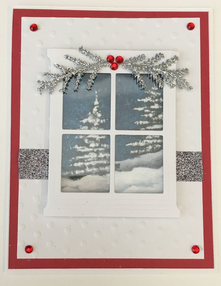 CBY Handmade - Christmas greeting card with window looking outside at winter scene.