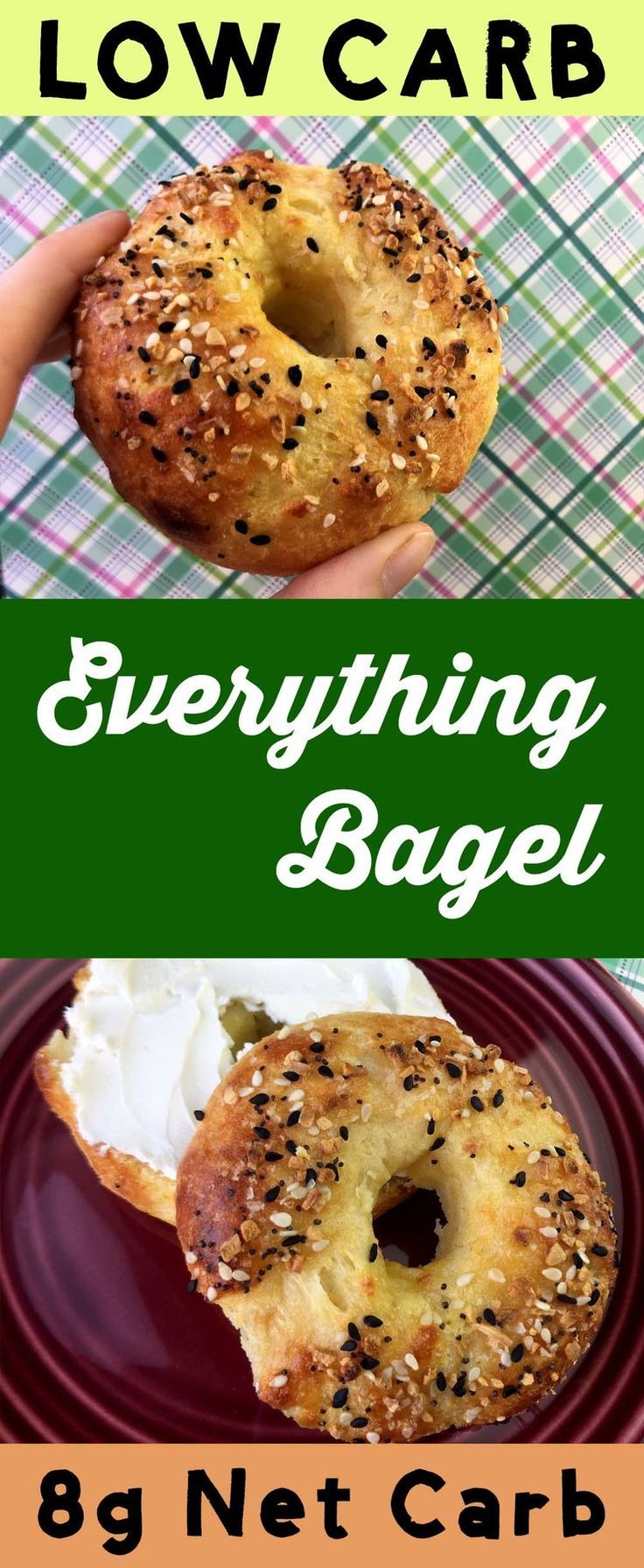 "This is a low carb take on the classic Everything Bagel.  It uses ""Fathead"" mozzarella cheese dough to recreate this basic breakfast.  It's Atkins, Banting, THM, LCHF, Sugar Free and Gluten Free. #Lowcarb #lowcarbdiet #keto #ketogenic #LCHF #diet #best #glutenfree #sugarfree"