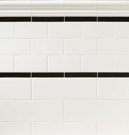 Subway Tile With Accent Strip Kitchen