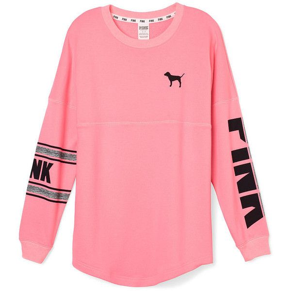 PINK Varsity Crew (£33) ❤ liked on Polyvore featuring tops, hoodies, sweatshirts, shirts, red sweatshirt, long sleeve shirts, oversized shirt, graphic long sleeve shirts e graphic shirts