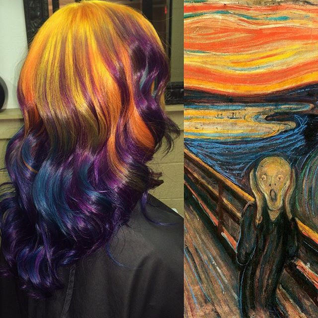 "Pin for Later: Colorist Transforms Classic Artwork Into Rainbow Hair Edvard Munch's ""The Scream"""