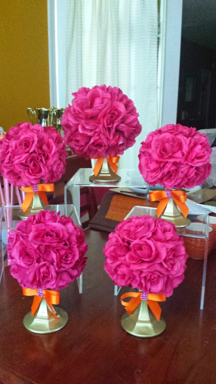 Felicia's Event Design and Planning - Orange and Pink Rose Ball Centerpieces