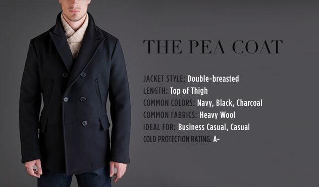 While the exact origins of the pea coat are uncertain, the Oxford dictionary has the earliest uses of the term pea coat dating back to the early 18th century, from the term Pijjakker or pilot's jacket in Dutch. One version of the current pea coat as we know it was adopted from the reefer jackets of the British Royal Navy.