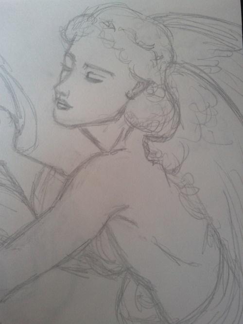 La jeune fille et l'amour,   détail, l'amour John Roddam spencer, stanhope la seconde vague des préraphaélites