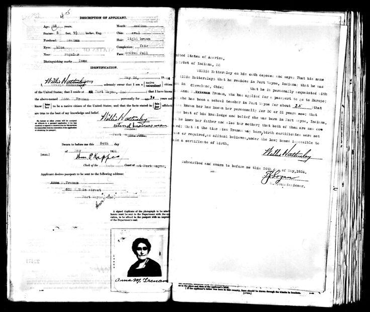 Anna M Trenam passport -  Fort Wayne Indiana