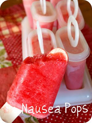 DIY: Nausea Pops for morning sickness.  Worth a try next time. It's like smoothie ingredients with ginger in it.