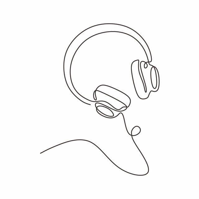 Vector Illustration Isolated Drawing Headphones Music White Line Concept Man People Person Outline Design Continuous Icon G Em 2020 Fotos De Galaxias Estampas Desenhos