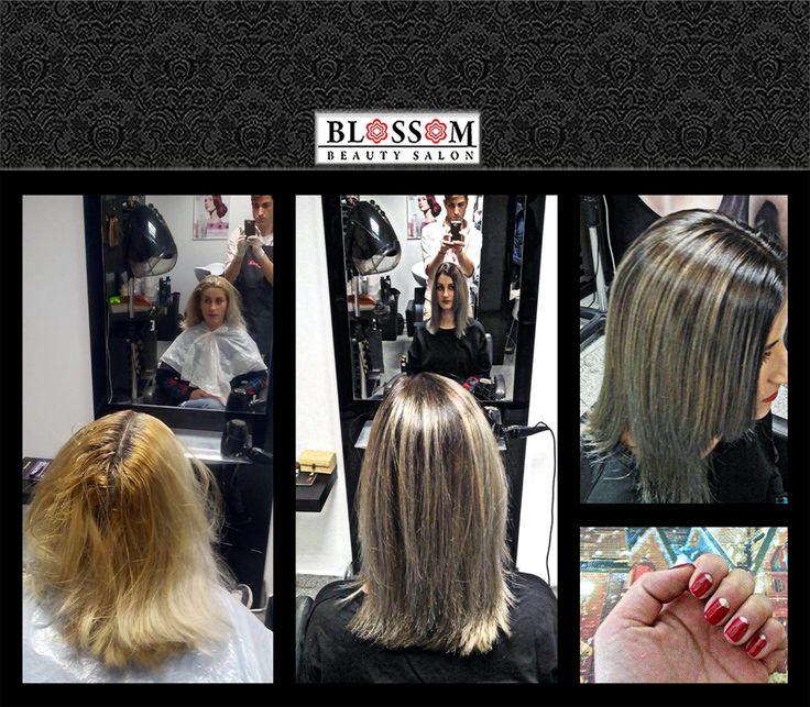 Acesta poate fi look-ul iernii tale!  Vă propunem un blond platinat în degrade cu tușe naturale la rădăcină pentru un look modern și mai ales atractiv. Această tehnică de colorare a părului este foarte potrivită pentru rujul roșu. Împreună oferă cel mai bun parteneriat hair+makeup. Pentru completare vă propunem o manichiură half moon realizată din culorile roșu și auriu, perfectă pentru aceste câteva zile tematice.  #happynails, #christmasnails, #happyhair