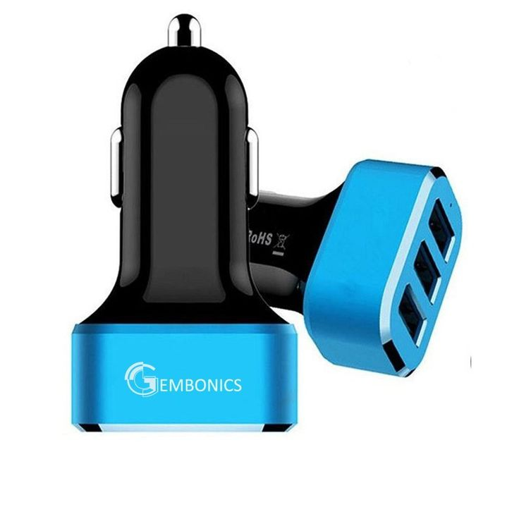 Gembonics Triple Port High Speed USB Car Charger (36W / 7.2Amps, Auto Detect Technology) for Apple, Android, Samsung and many other USB charged device