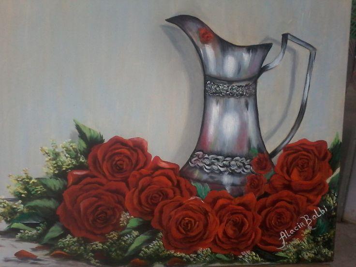 Pintura a Oleo Jarra de prata e rosas por Alacir Balbi