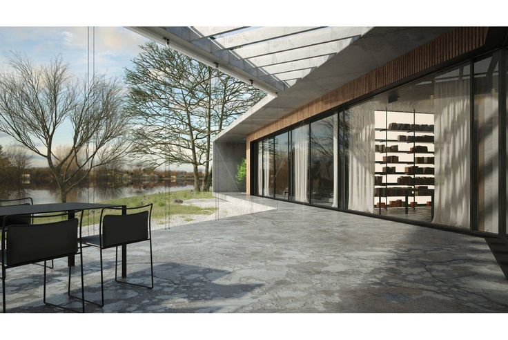 #親水住宅 - The lake house / SERGEY MAKHNO Architects 位於烏克蘭的湖畔別墅,是個為當地成功人士構築的現代風格 建築,外觀以清水混凝土搭配木格柵,用V字型結構面向湖邊,呈現與湖邊地景一致的景觀住宅。內部設計走向當代主義,以大面積書架、現代風格繪畫裝飾、棕色和大地色系為主的設計,完全對應屋主想要的靜氛圍。 via SERGEY MAKHNO Architects