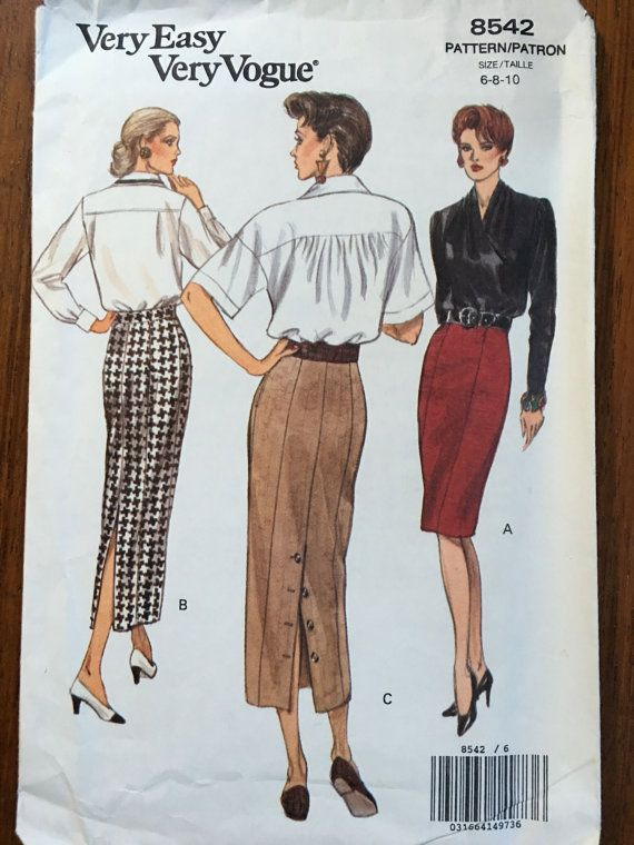 UNCUT 1992 Vogue Pattern Very Easy Vogue Vogue 8542 Elegant Tapered Skirts, Princess Seaming & Button Down Back Opening Sizes 6-8-10 1980s shoulder pads, power dressing,  Etsy weseatree patterns 1980s