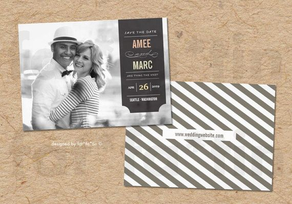Modern Stylish Black Tab Save The Date Photo Announcement | Custom Trendy Chic Retro Wedding Engagment PRINTED CARD / PRINTABLE jpg or pdf - by fatfatin on Etsy