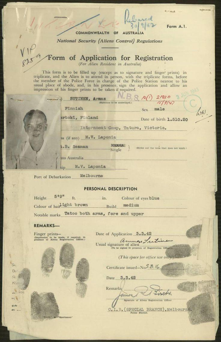 NAA: B6531, NATURALISED/1946 - 1947/SCANDINAVIAN/SUTINEN ARMAS