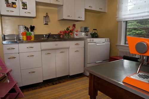 retro kitchen with stainless steel worktop | Metal kitchen ...