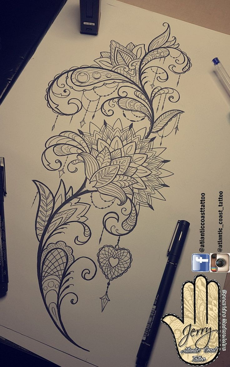 Beautiful tattoo idea design for a thigh mandala lotus flower lace pretty patterns and detail. Heart tattoo ornaments