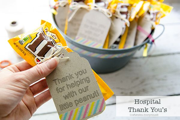 DIY chipboard tags for Hospital Thank you's! Hand out to nurses and doctors. Cute idea!