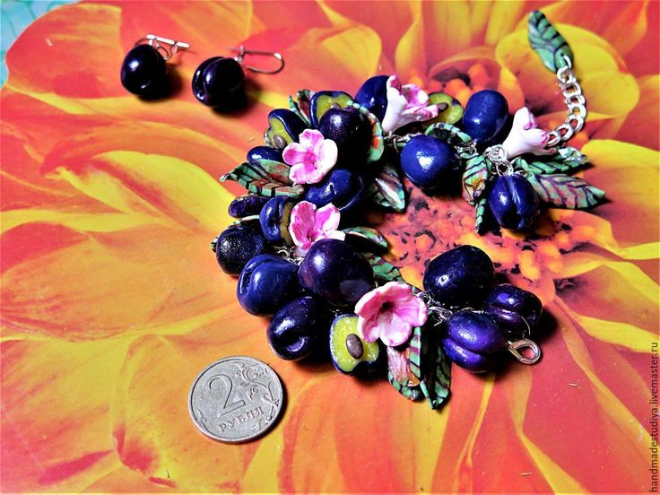 Купить Комплект украшений (браслет, серьги) Сливовый - тёмно-синий, комплект украшений, украшения