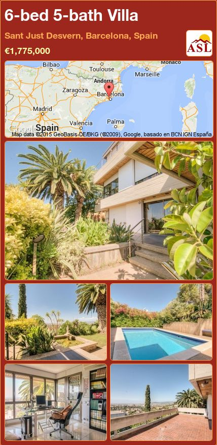 6-bed 5-bath Villa in Sant Just Desvern, Barcelona, Spain ►€1,775,000 #PropertyForSaleInSpain