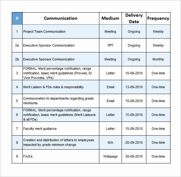 Project Management Communication Plan Template Best Of Project Munication Plan Tem Communications Plan Template Communication Plan Template Communications Plan