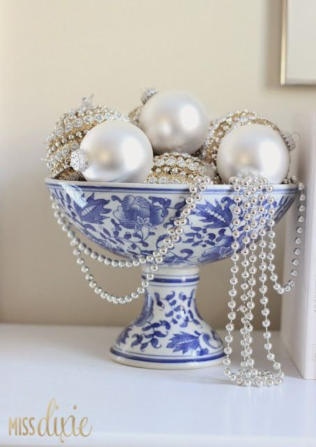glam blue and white christmas decor