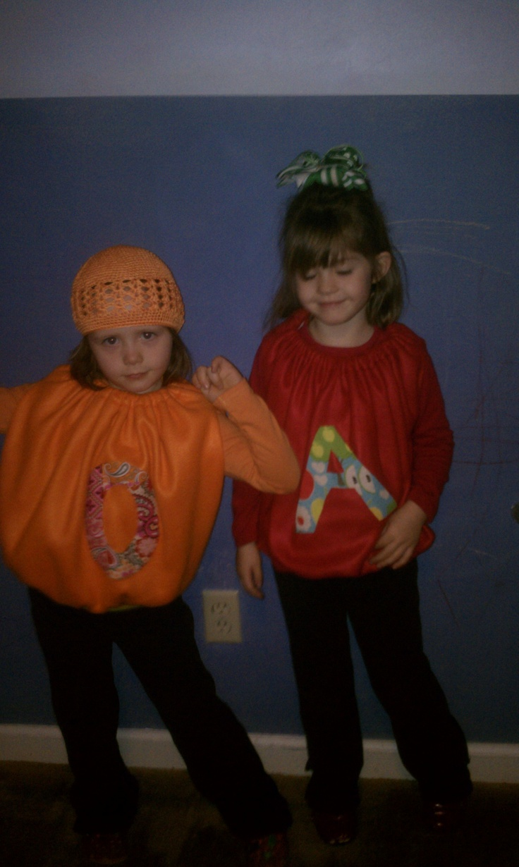 Classroom Dress Up Ideas ~ Annie apple and orange oscar for letterland dress up day