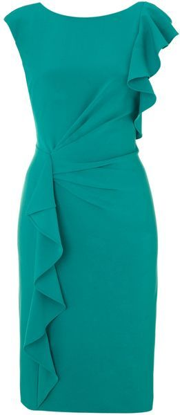 Adrianna Papell Ruffle Front Detail Dress in Green (jade) | Lyst