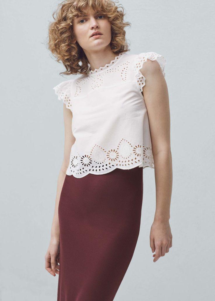 Top algodón calado - Camisas de Mujer   MANGO España