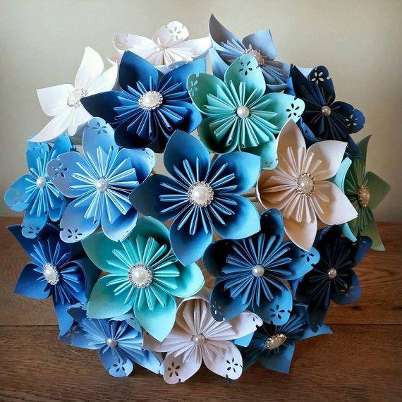 Papier Bouquet fleurs origami kusudama nuptiale Articles de papeterie en UK thème blanc bleu mer teal lagon cristal marié mère du corsage de la mariée