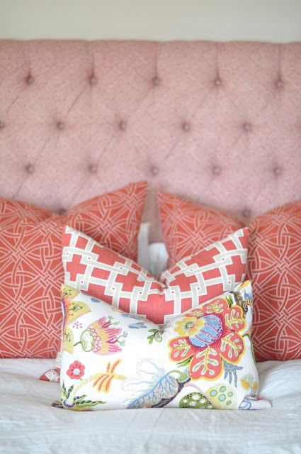 Bed fabric is Schumacher- Greek Key  Euro pillows are Schumacher-Durance Embroidery  Standard size pillow is Kravet-Thom Filicia Citysquare  Lumbar & Chair fabric is Kravet-Idelle