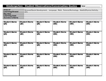 Kindergarten Assessment and Evaluation Template (editable)