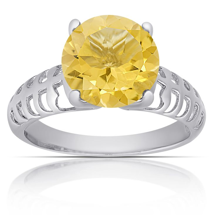 Dolce Giavonna Sterling Silver Citrine Round Solitaire Ring