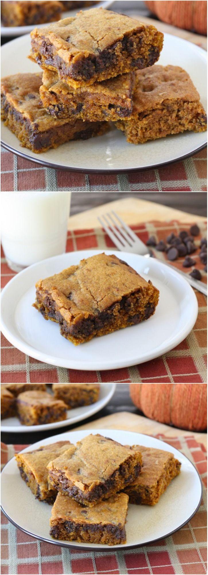 Pumpkin Chocolate Chip Bars Recipe on twopeasandtheirpod.com The BEST pumpkin bars! A perfect dessert for fall! #pumpkin #chocolatechip