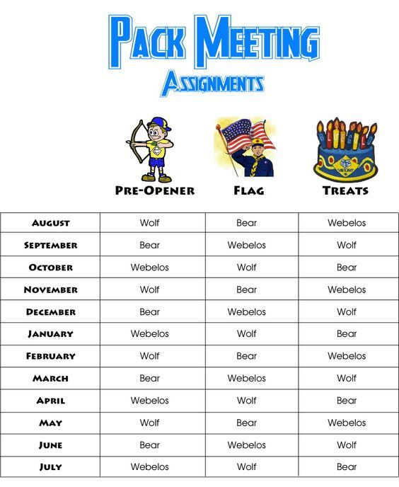 Cub Scout * Pack Meeting Yearly Rotation of Assignments for Pre-Opener, Flag Ceremony, and Treats or Refreshments - Free Printable to give to Den Leaders:
