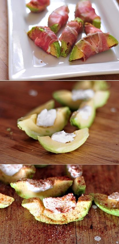 """""""Slice up a few avocados, sprinkle a bit of lemon juice on top, add a serving of goat cheese to each, finish off with a pinch of salt, pepper and chili powder and wrap the whole thing around with a slice of prosciutto."""" - exPress-o blog"""