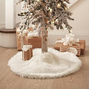 Faux Fur Tree Collar | For white and red Christmas tree in kitchen.