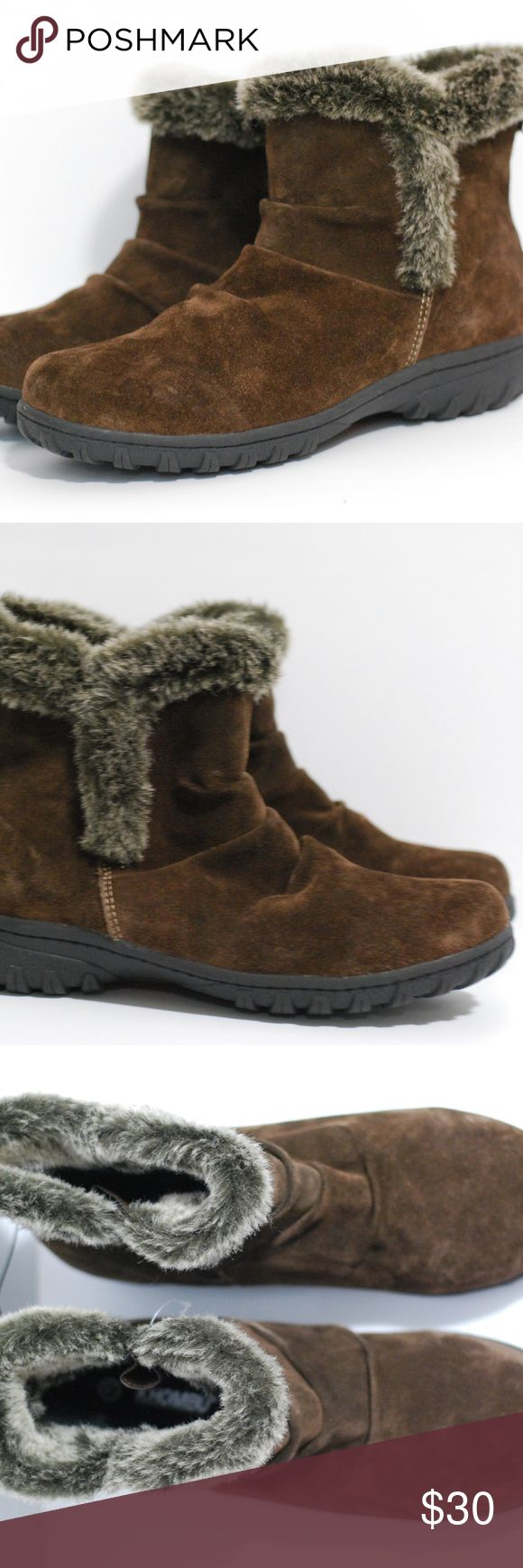 """Khombu Boots womens Shoes Khombu Womens Winter Boots Color Brown Faux Fur Trim Suede Leather  Measurements: For  Size 11M outsole Length~11.5 """" Heel Height~ 1"""" For size 6 Outsole Length: 9 1/2"""" For Size 7 Outsole Length: 10"""" Condition: New Without tags Questions are welcome! Fast Shipping from a smoke-free pet free home. Khombu Shoes Winter & Rain Boots"""