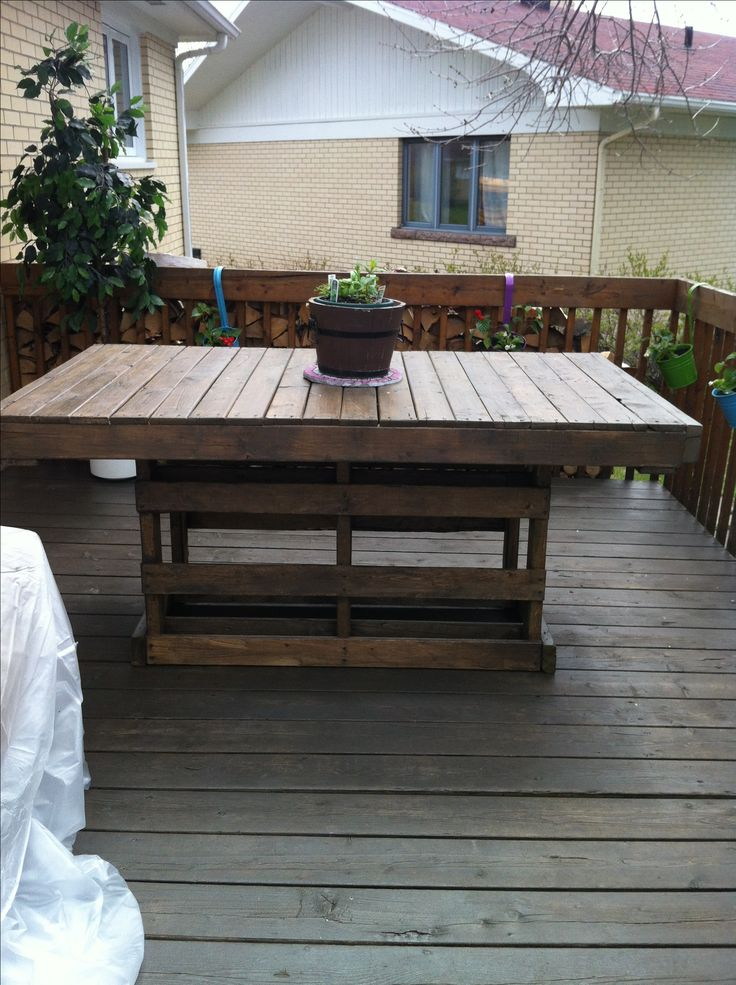A Simple Table For My Pation Made From Recycled Wooden Pallet. Une Table De  Patio
