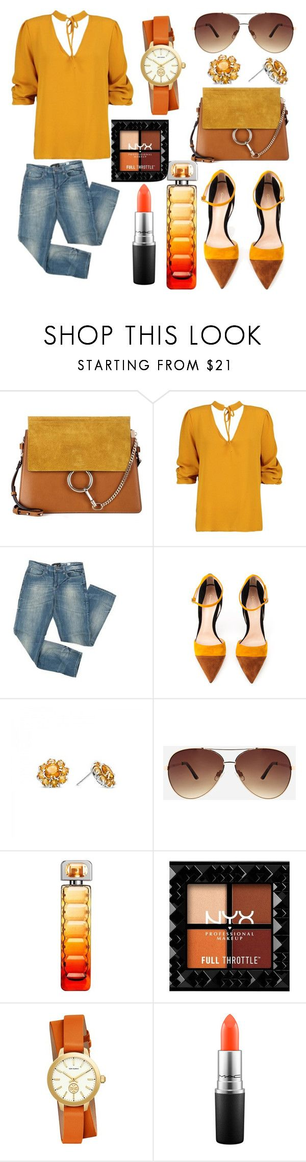 """""""Golden Sun"""" by cristina-paradela ❤ liked on Polyvore featuring Chloé, Boohoo, Mossimo, Gianvito Rossi, Ashley Stewart, HUGO, Tory Burch and MAC Cosmetics"""