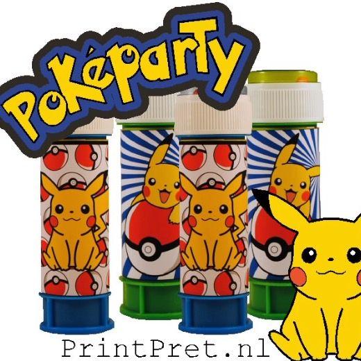 Pokemon feestje, bellenblaaswikkels, versiering, onderdeel van het doe het zelf Pokemon feestpakket van PrintPret.nl #pokemon #pickachu #traktatie #kinderfeestje #feestpakket #diy #printpret www.printpret.nl