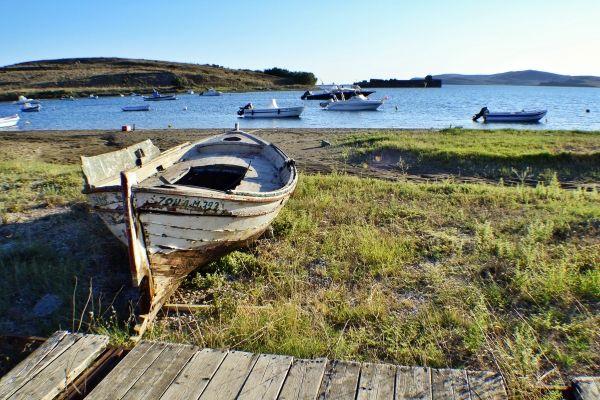 Fanari beach in Lemnos, forgotten boat
