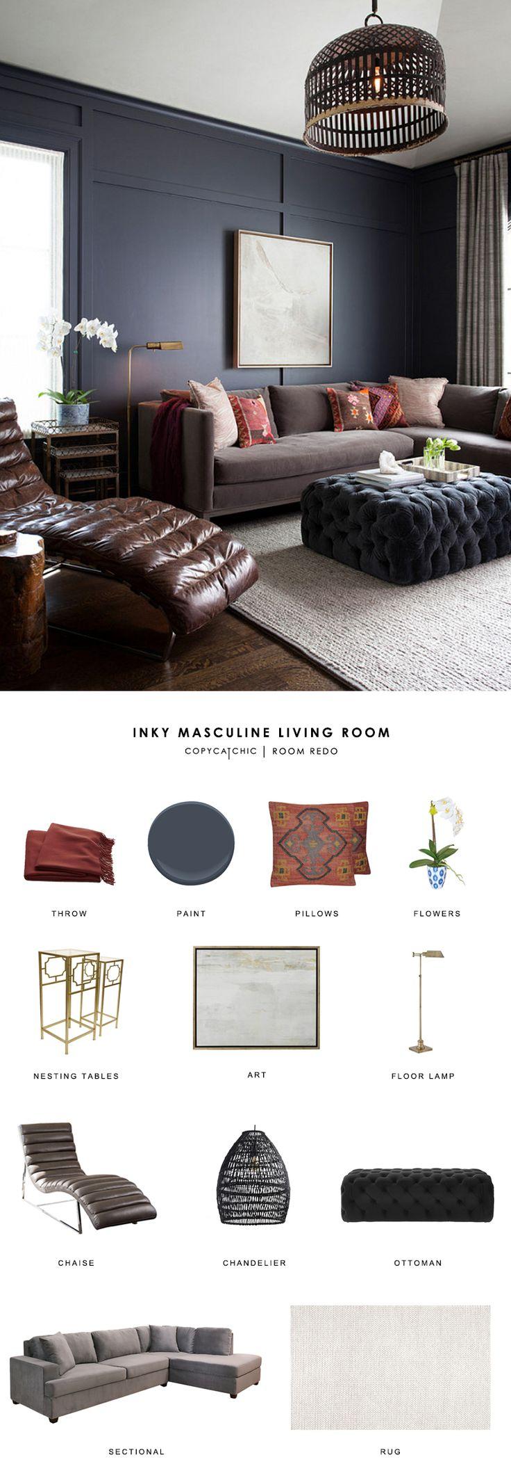 Copy Cat Chic Room Redo | Inky Masculine Living Room