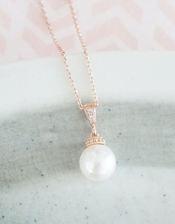 Rose Gold Pearl Rose Gold FILLED Necklace/ gifts for her, bridal gifts, pink gold weddings, bridesmaid necklace, simple everyday classy
