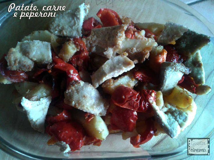 Carne di maiale, patate e peperoni