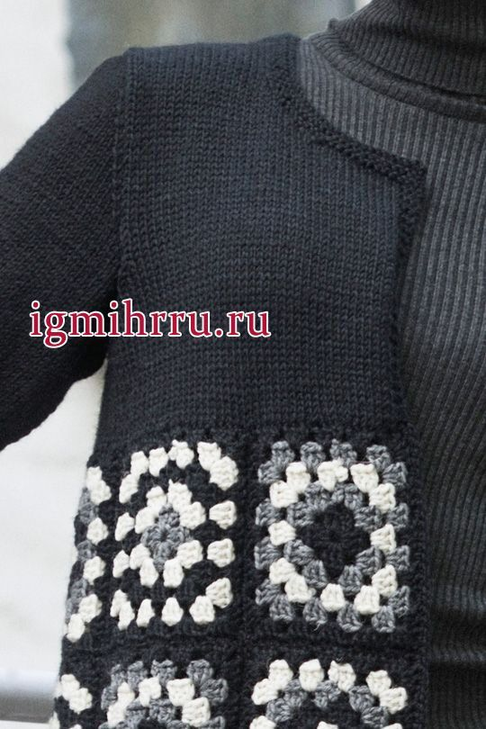 "Irish crochet &: CROCHET COAT GRANNY SQUARE ... ПАЛЬТО БАБУШКИН КВАДРАТ [ ""Irish lace, crochet, crochet patterns, clothing and decorations for the house, crocheted."", ""Womans Crochet and Knitted Cardigan Novita 7 Veljestä Brothers)"", ""Womans cardigan worked in Novita 7 Veljestä Brothers) combines knitted bodice and upper sleeves in stocking stitch with crochet skirt in granny squares. Two different techniques meet stylishly in this pretty and graphical cardigan."" ] # # #Crochet #Co..."