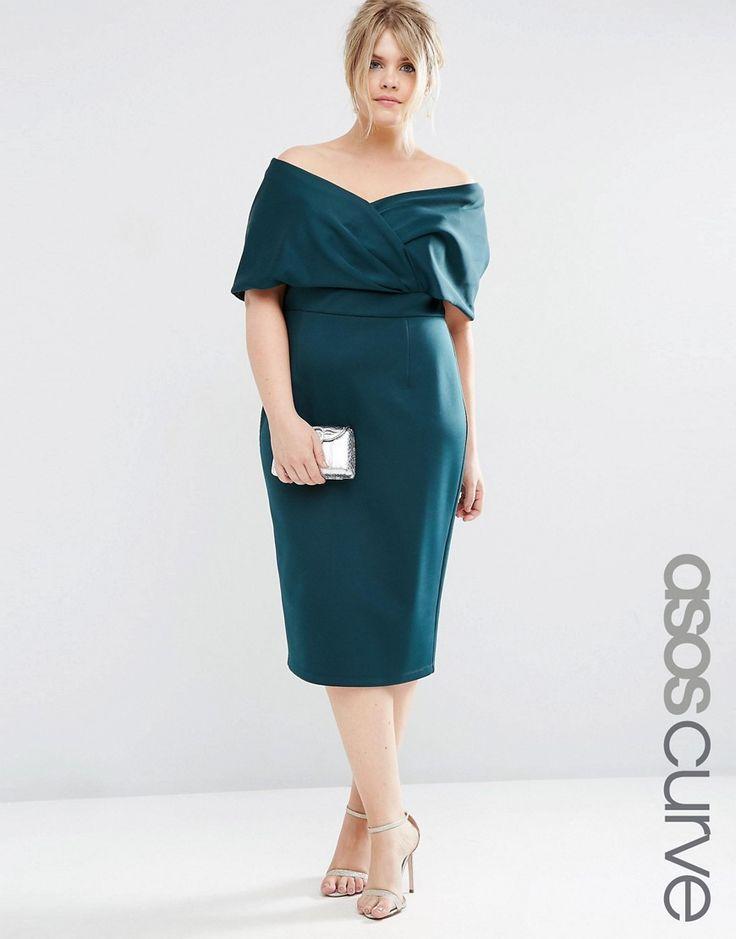 Image 1 ofASOS CURVE Premium Fold Cape Midi Bodycon Dress in Scuba