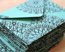Turquoise Mandala Mini kaarten / / blanco kaarten / / Enslosure kaarten / / cadeau Card enveloppen / / advies kaarten / / Opmerking Love / / Journaling kaart