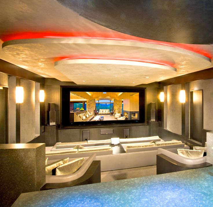 Custom designed contemporary home theater (Aspen, Colorado | Shane Aspen Real Estate)